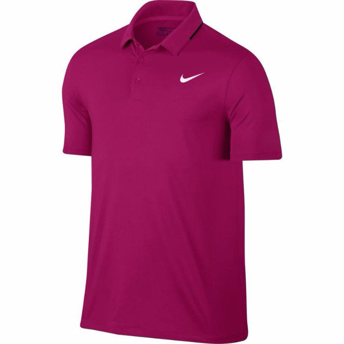 Nike Men's Dry Solid Golf Polos - SPORT FUCHSIA/BLACK/WHITE