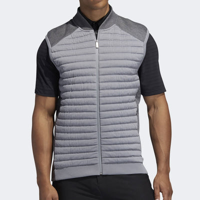 ADIDAS MENS CLIMAHEAT PRIMALOFT QUILTED HYBRID VEST - GREY HEATHER