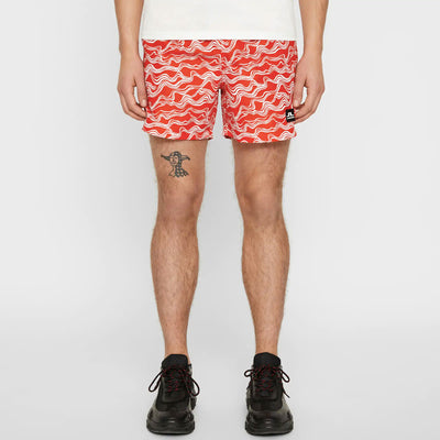 J.LINDEBERG Mens  LTD EDITION BANKS SWIM TRUNKS - ZEBRA RACING RED