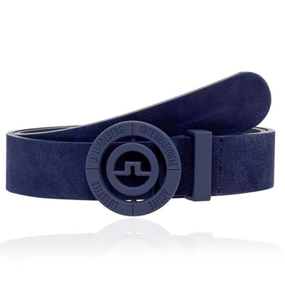 J.LINDEBERG MENS Ltd Edition Beveled Bridge Brushed Leather Belt - JL Navy