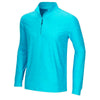 GREG NORMAN - 1/4 ZIP HEATHER L/S MOCK PULLOVER - BREEZE BLUE HEATHER