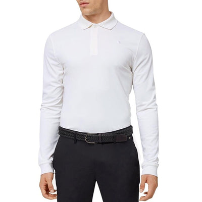 J.LINDEBERG Mens Brandon Long Sleeve Slim TX TORQUE Polo - WHITE