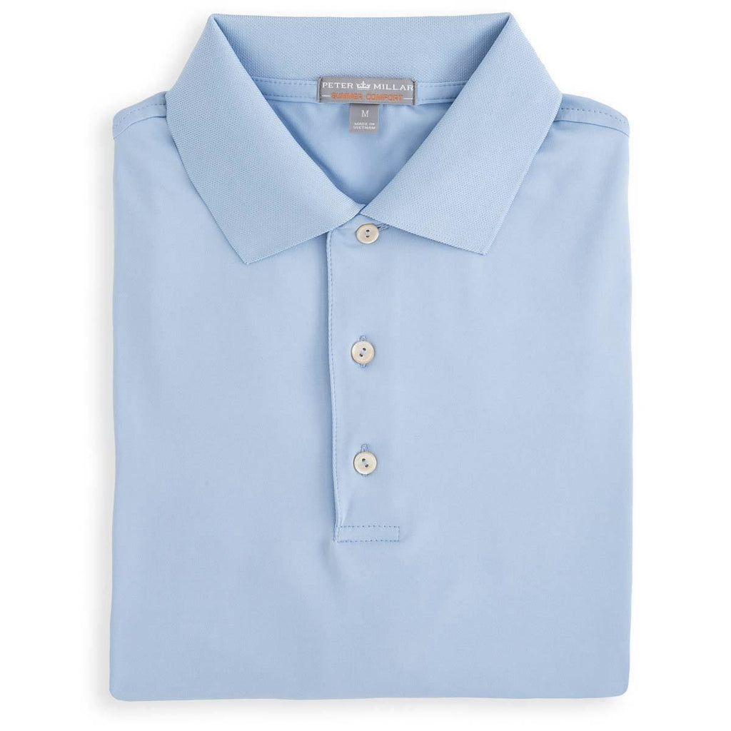 Peter Millar -Solid Stretch Jersey Polo With Knit Collar - COTTAGE BLUE -SZ LARGE