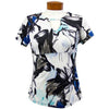 Womens Catwalk Front2Back Short Sleeve Golf Top - Blue Flower