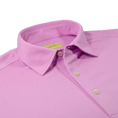 Donald Ross Mens Performance Pique Self Collar Polo - HIBISCUS