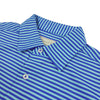 Donald Ross Mens Short Sleeve 2 Color Feeder Stripe JERSEY Polo, Self Collar - ATLANTIC BLUE / SEA FOAM