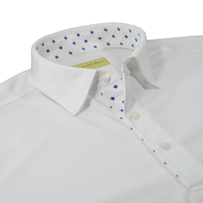 Donald Ross Mens Thistle Placket Solid Jersey Polo - WHITE / NAVY