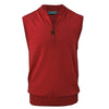 Donald Ross Mens 1/2 Zip Lightweight Merino Wool Vest - CRIMSON