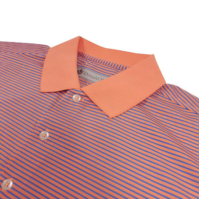 Donald Ross Mens Short Sleeve 2 Color Stripe JERSEY Polo, Knit Collar - CITRUS / PACIFIC