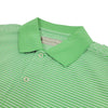 Donald Ross Mens Short Sleeve 2 Color Stripe JERSEY Polo, Knit Collar - KELLY GREEN / CREAM