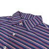 Donald Ross Mens Short Sleeve BOLD MULTI-STRIPE Jersey polo, Self Collar - NAVY MULTI