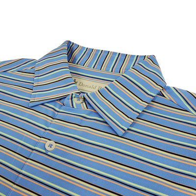 Donald Ross Mens Short Sleeve BOLD MULTI-STRIPE Jersey polo, Self Collar - PACIFIC MULTI