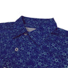 Donald Ross Mens Short Sleeve Flower Print JERSEY - SELF COLLAR - NAVY / SPEARMINT