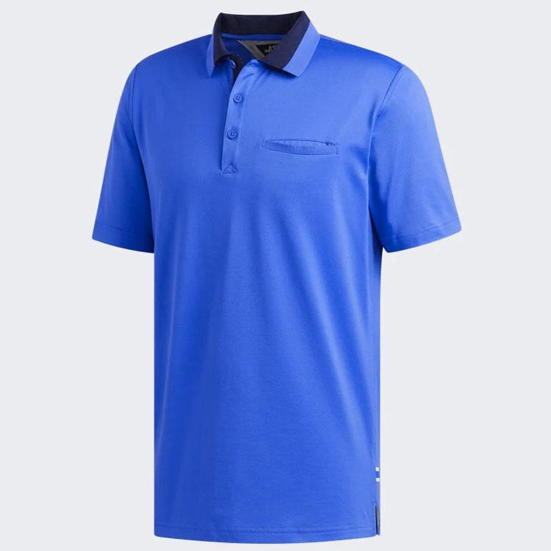 adidas Men's ADIPURE COTTON / POLY PLATED POLO SHIRT - TRUE BLUE