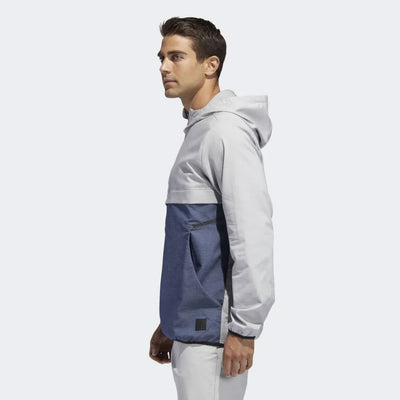 adidas MENS GOLF ADICROSS ANORAK JACKET - GREY HEATHERED / TMAG DARK BLUE HTR