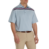 FJ Men's Lisle Chest Stripe Self Collar - Blue Fog