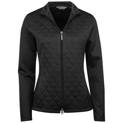 Greg Norman Ladies Sonic Quilted Knit Essential Jacket - BLACK