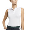 G/FORE WOMENS SOLID SLEEVELESS POLO - SNOW - SZ SMALL