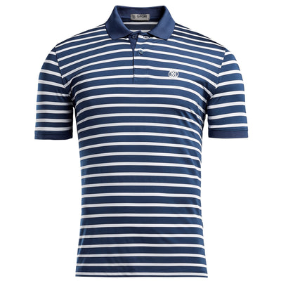 G/FORE MENS WIDE STRIPE POLO - SNOW