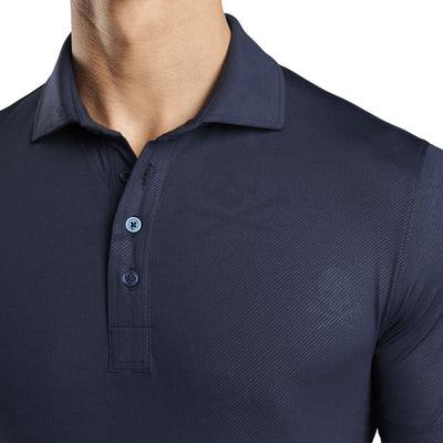 G/FORE MENS SKULL & T'S EMBOSSED POLO - TWILIGHT