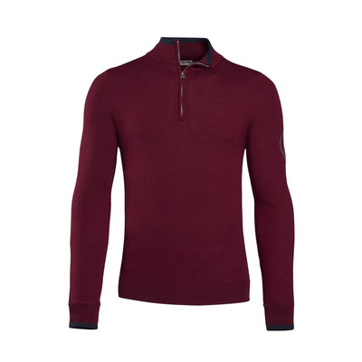 G/FORE MENS TIPPED QUARTER ZIP CASHMERE SWEATER - CABERNET
