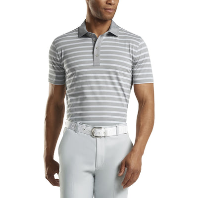 G/FORE MENS PERFORATED STRIPE POLO- MONUMENT - SZ M