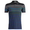 G/FORE MENS OMBRE STRIPED POLO - ONYX  - SZ M