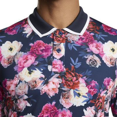 G/FORE MENS FLORAL POLO - TWILIGHT  - SZ M