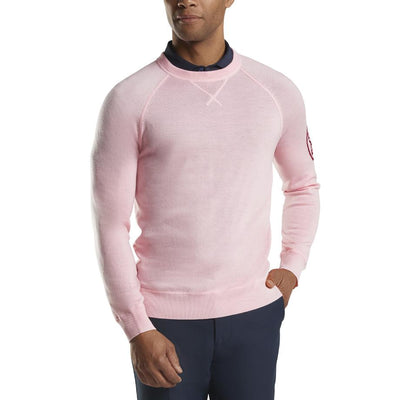 G/FORE MENS CREWNECK SWEATER - ROSE QUARTZ - SZ M