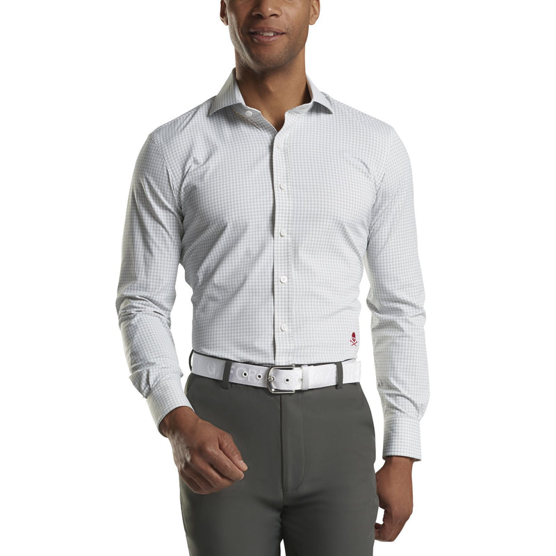 G/FORE MENS GINGHAM MODERN SPREAD WOVEN - PEARL