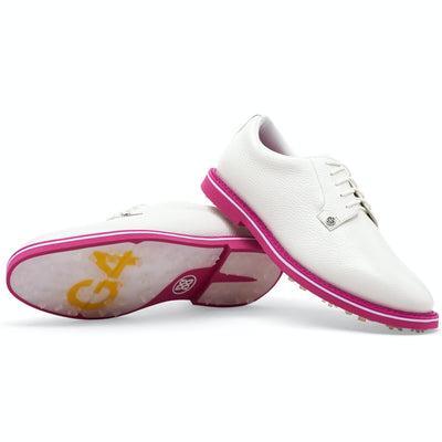 G/FORE MEN'S LTD EDITION GALLIVANTER GOLF SHOE - SNOW / FLAMINGO