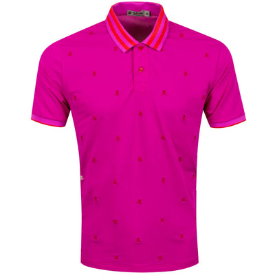 G/FORE MENS SKULL & T'S EMBROIDERED POLO - BOUGAINVILLEA