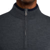 G/FORE MENS TIPPED QUARTER ZIP WOOL PULLOVER - HEATHER GREY - SZ MEDIUM
