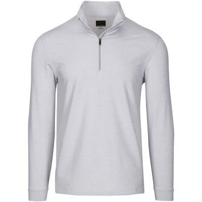 Greg Norman L/S Micro Stripe Heathered ¼ Zip Pullover - White Heather