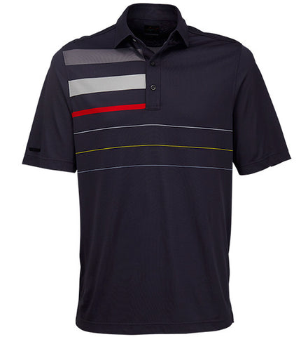Greg Norman Engineered Stripe Polos - Carbon Grey
