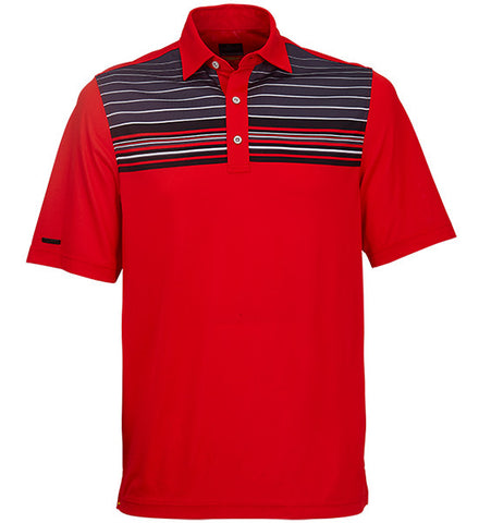 Greg Norman Engineered Stripe Polos - Flame Red