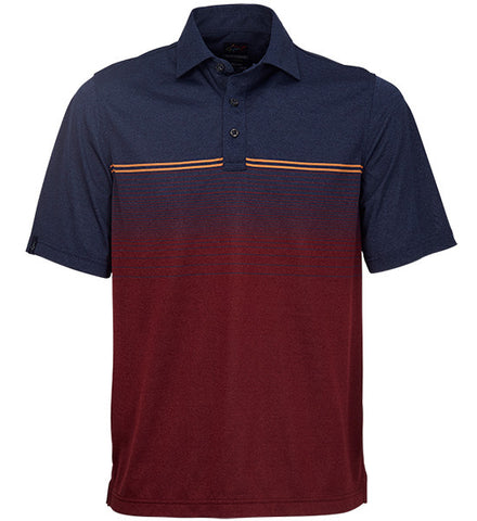 Greg Norman Engineered Stripe Polos - Navy Heather