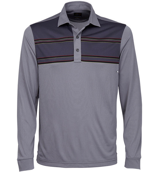 Greg Norman Engineered Stripe Long Sleeve Polos - Mineral Grey