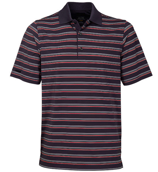 Greg Norman ML75 Stretch Stripe Polos - Carbon Grey