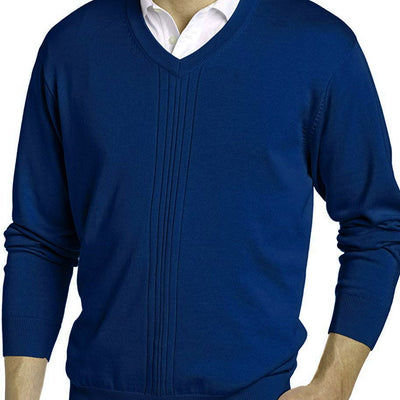 Greg Norman Collection Men's Drop Needle Textured V-Neck Sweater - Navy