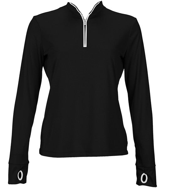 Greg Norman Women's 1/2 Zip Trimmed Performance Pullover - Black