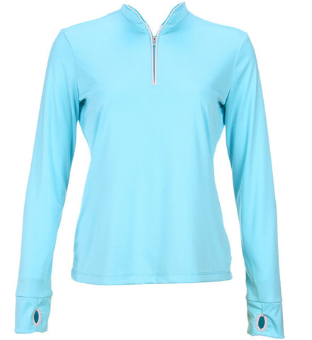 Greg Norman Women's 1/2 Zip Trimmed Performance Pullover - Ocean Blue