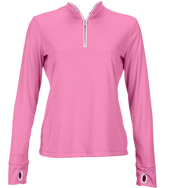Greg Norman Women's 1/2 Zip Trimmed Performance Pullover - Pink