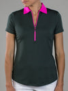 JoFit Pop Collar Polo- Olive