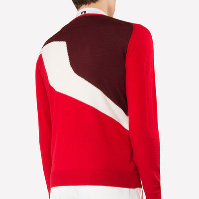 J. LINDEBERG Mens - JETHRO Merino Sweater - RACING RED