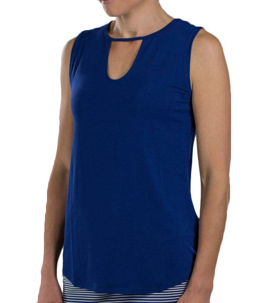 JoFit Keyhole Sleeveless Top - Blue Depth