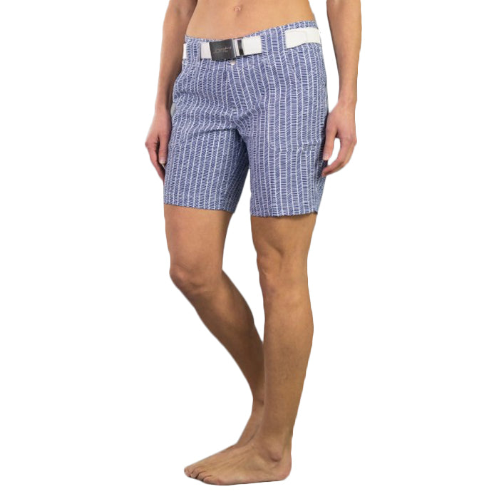 JoFit Belted Golf Shorts - Birch Pinstripe