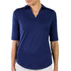 JoFit Scallop 1/2 Sleeve Polos - Blue Depth