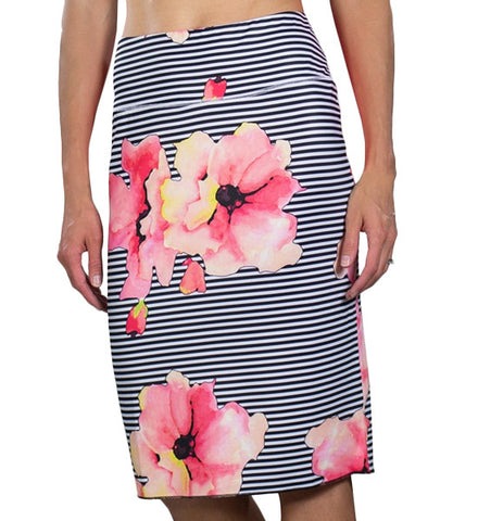 JoFit Slip on Skirt - Striped Floral