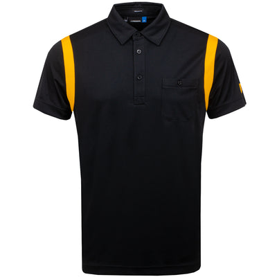 J.LINDEBERG MENS DOLPH SLIM FIT TX JERSEY POLO SHIRT - BLACK/WARM ORANGE